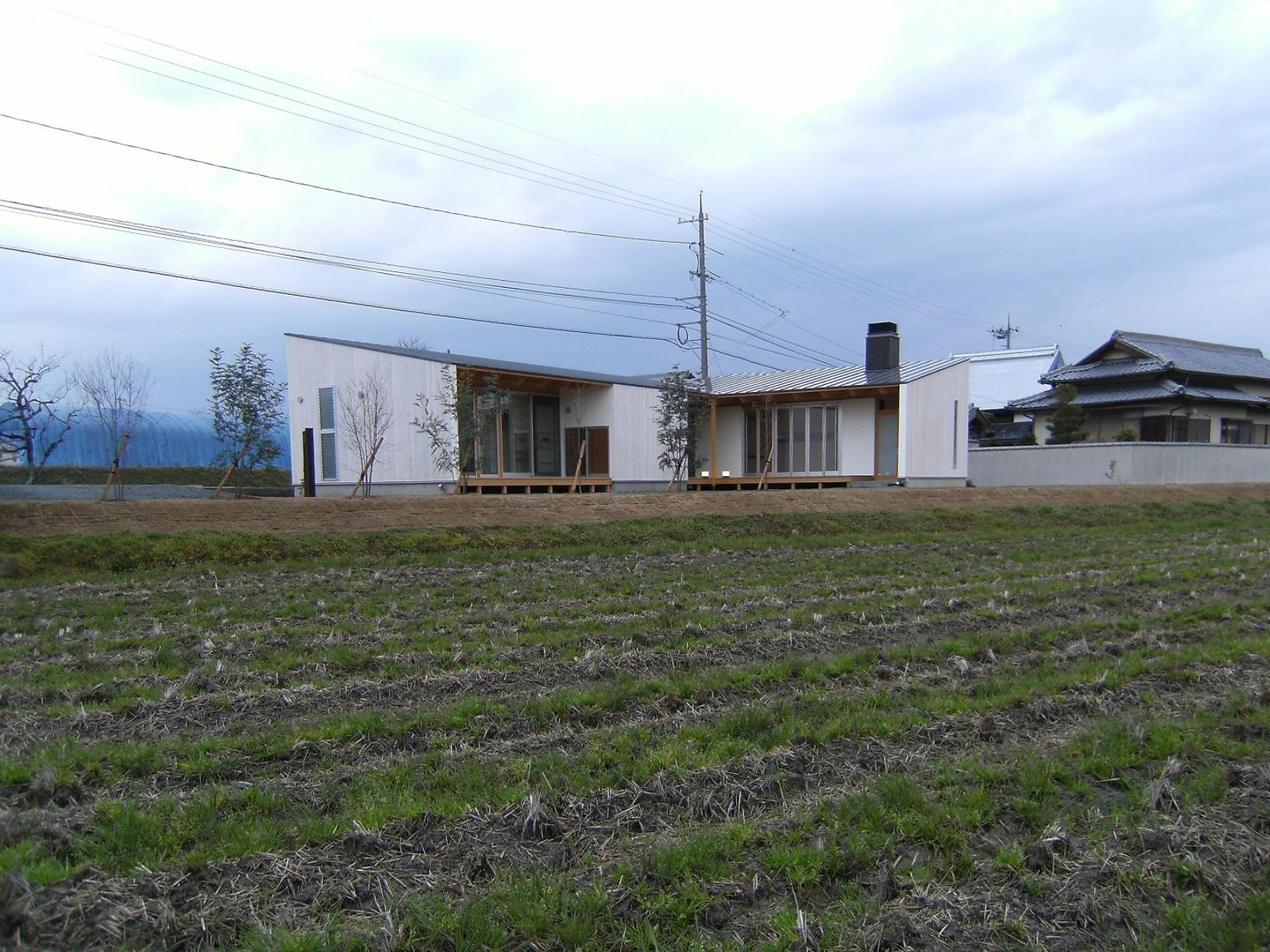 田畑と空におなかを見せて暮らす家